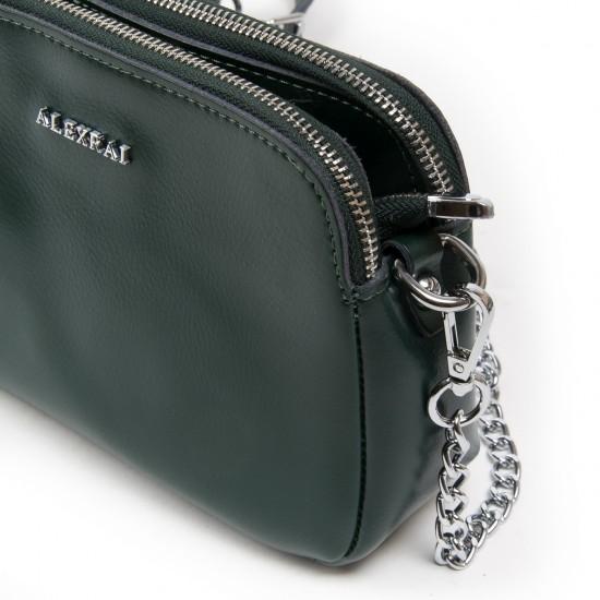 Жіноча сумочка з натуральної шкіри ALEX RAI 8701 зелений