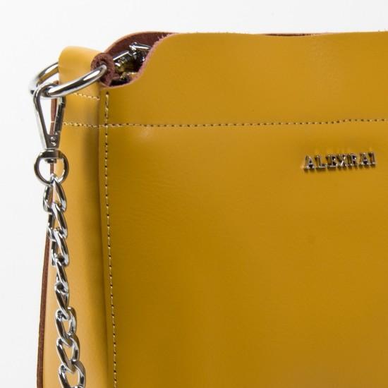Жіноча сумочка з натуральної шкіри ALEX RAI 3101 жовтий