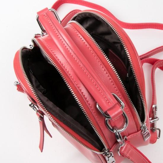 Женская сумочка-рюкзак из натуральной кожи ALEX RAI 339 фуксия