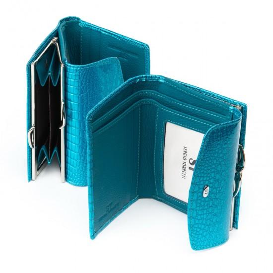 Жіночий шкіряний гаманець SERGIO TORRETTI WS-11 бірюзовий