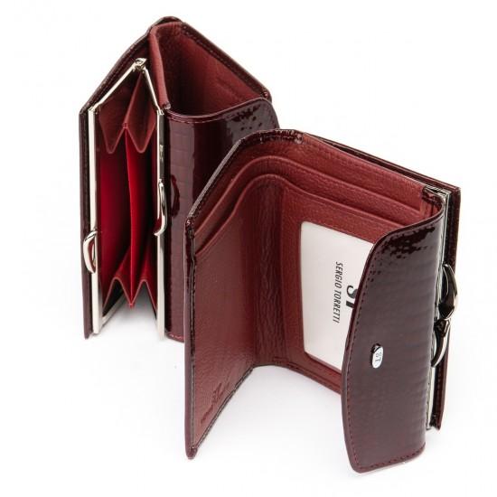 Жіночий шкіряний гаманець SERGIO TORRETTI WS-11 бордовий