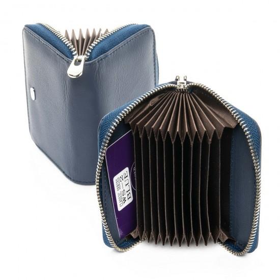 Жіночий шкіряний гаманець візитниця dr.Bond Classic WS-2 темно синій