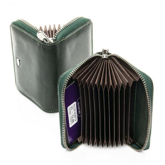 Женский кожаный кошелек визитница dr.Bond Classic WS-2 зеленый