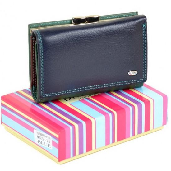 Жіночий шкіряний гаманець dr.Bond Rainbow WRS-11 темно-синій
