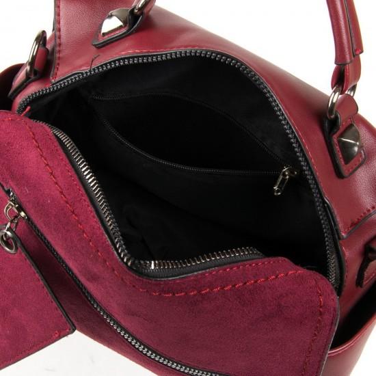 Жіноча сумочка-рюкзак з замша FASHION 53379 бордовий