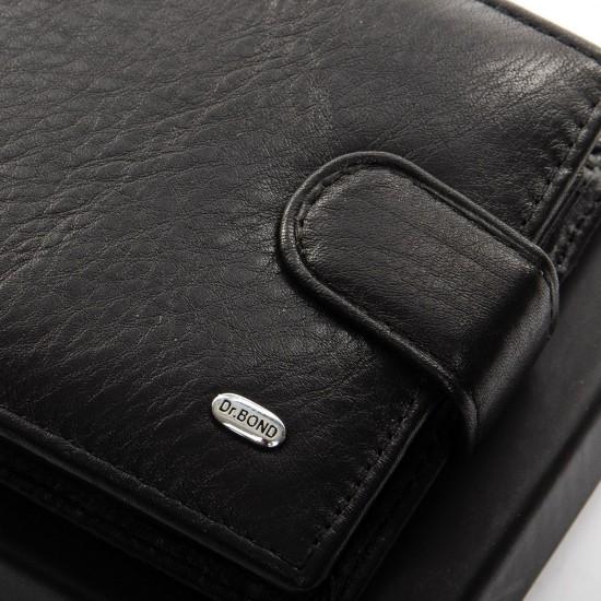 Чоловічий шкіряний портмоне dr.Bond Classic MS-27 чорний