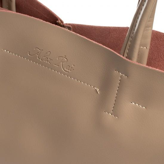 Жіноча сумка з натуральної шкіри ALEX RAI 8630 темно-бежевий