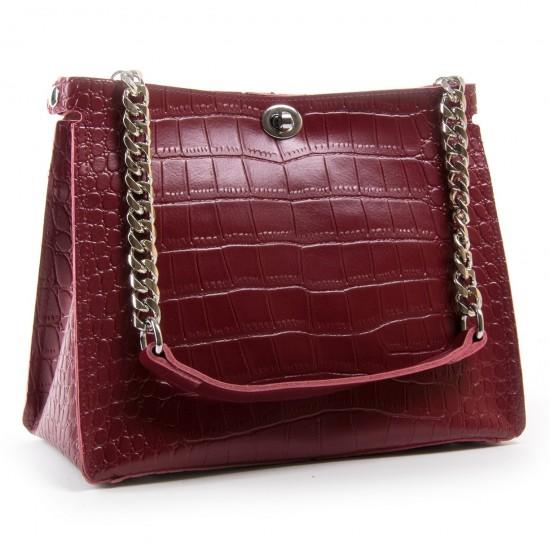Жіноча сумка з натуральної шкіри ALEX RAI 3202-1 бордовий