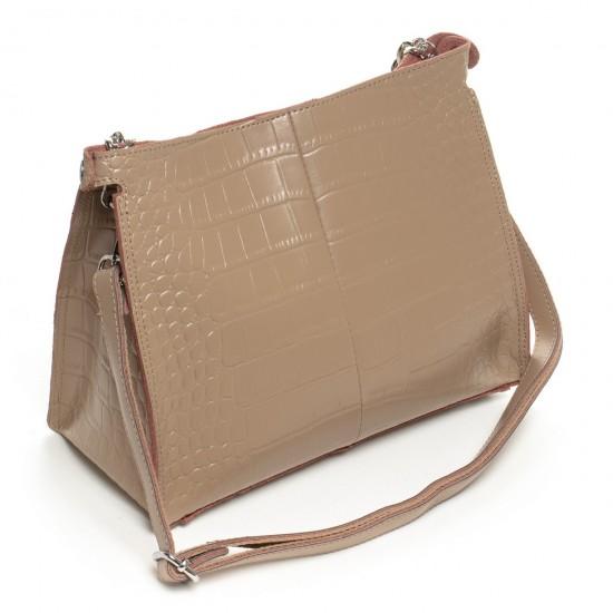 Жіноча сумка з натуральної шкіри ALEX RAI 3202-1 темно-бежевий