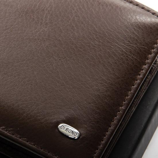 Чоловічий шкіряний портмоне dr.Bond Classic MSM-4 кавовий