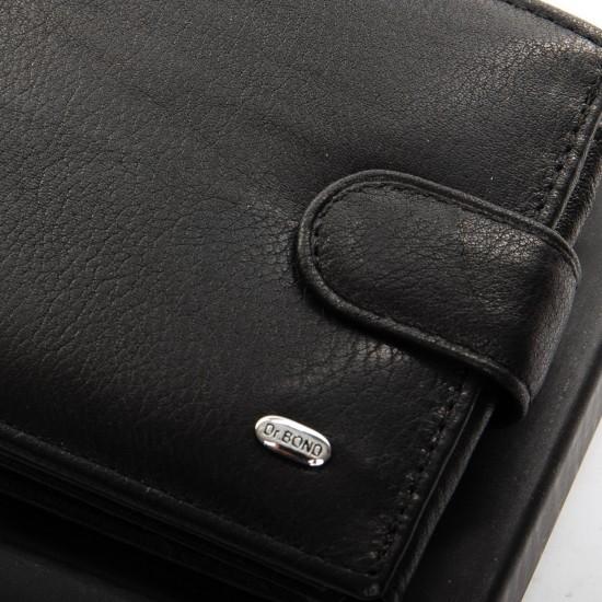 Чоловічий шкіряний портмоне dr.Bond Classic MS-15 чорний