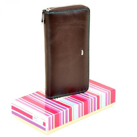 Жіночий шкіряний гаманець dr.Bond Rainbow WRS-2 кавовий