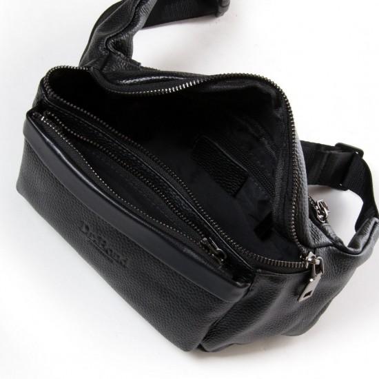 Чоловіча сумка на пояс або через плече з натуральної шкіри dr.Bond 66333 чорний
