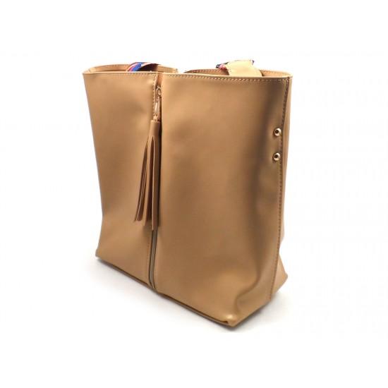 Жіноча модельна сумка + косметичка LARGONI T1711 бежевий