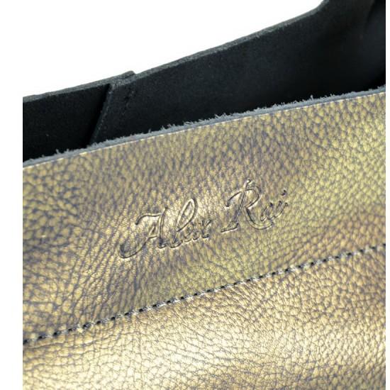 Жіноча сумка з натуральної шкіри ALEX RAI 8649-2 золотий