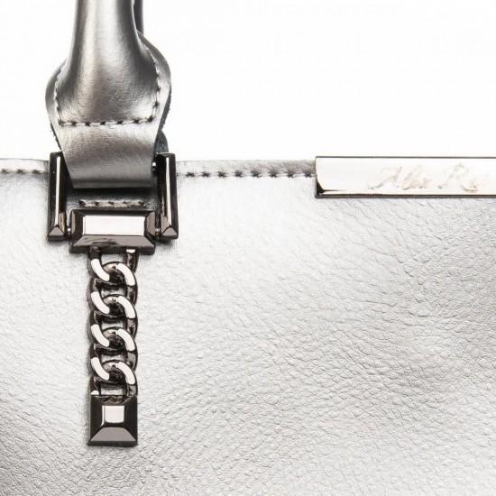 Женская сумка из натуральной кожи ALEX RAI 8772 серебро