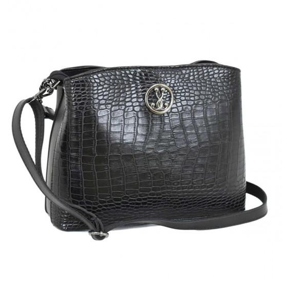 Жіноча модельна сумочка LUCHERINO 628 чорний крокодил