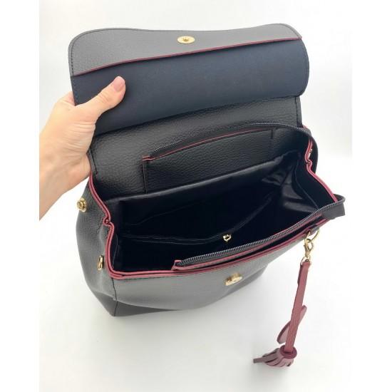 Жіночий рюкзак WELASSIE Серце чорний + червоний