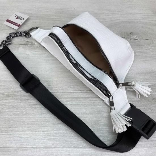 Женская сумочка на пояс WELASSIE Элен белый крокодил