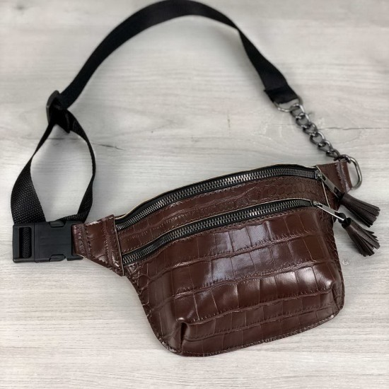 Жіноча сумочка на пояс WELASSIE Елен коричневий крокодил