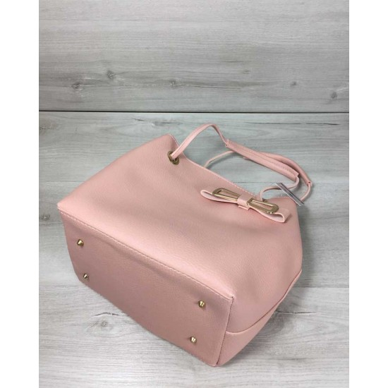 Женская модельная сумочка + косметичка WELASSIE Бантик пудра