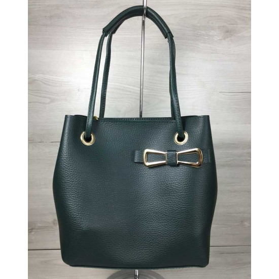 Жіноча модельна сумочка + косметичка WELASSIE Бантик зелений