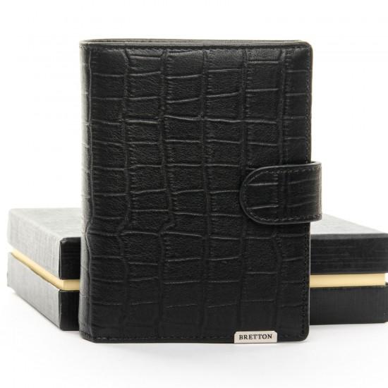 Мужской кожаный портмоне BRETTON Crocodile M4753 черный