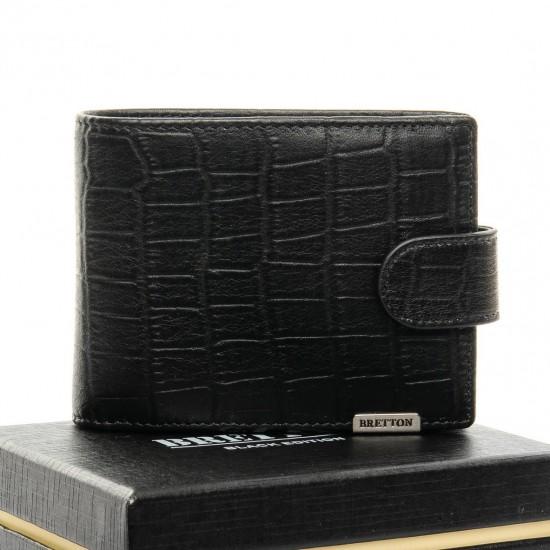 Чоловічий шкіряний портмоне BRETTON Crocodile M3201 чорний
