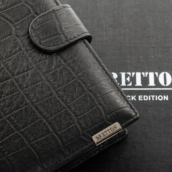 Мужской кожаный портмоне BRETTON Crocodile M5406 черный