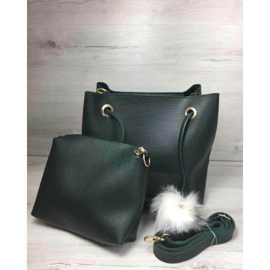Жіноча модельна сумочка + косметичка WELASSIE Пушок зелений