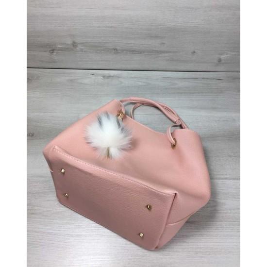 Жіноча модельна сумочка + косметичка WELASSIE Пушок пудра