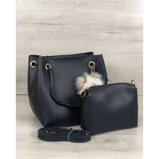 Женская модельная сумочка + косметичка WELASSIE Пушок темно-синий