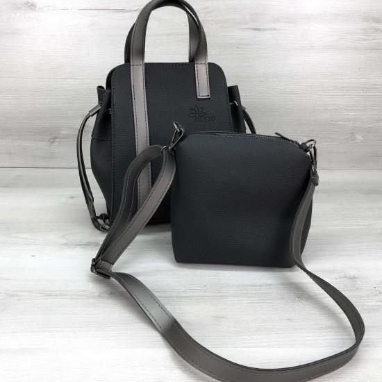 Жіноча модельна сумочка + косметичка OLETO Alex графітовий