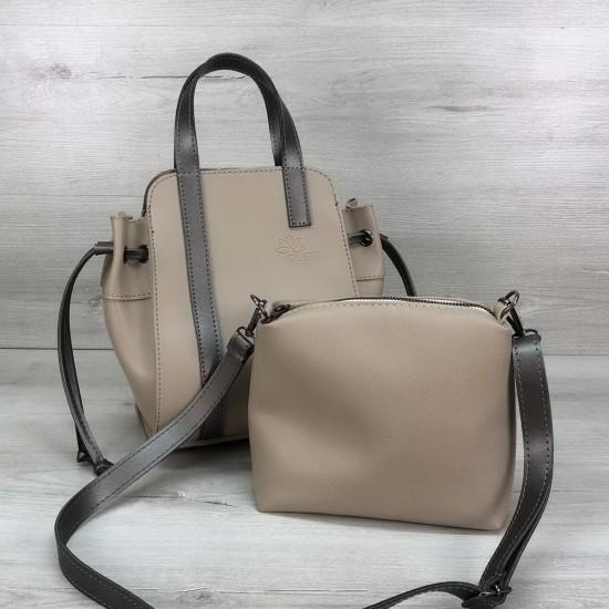 Жіноча модельна сумочка + косметичка OLETO Alex бежевий