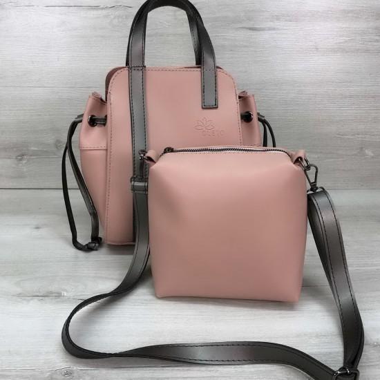 Жіноча модельна сумочка + косметичка OLETO Alex пудра