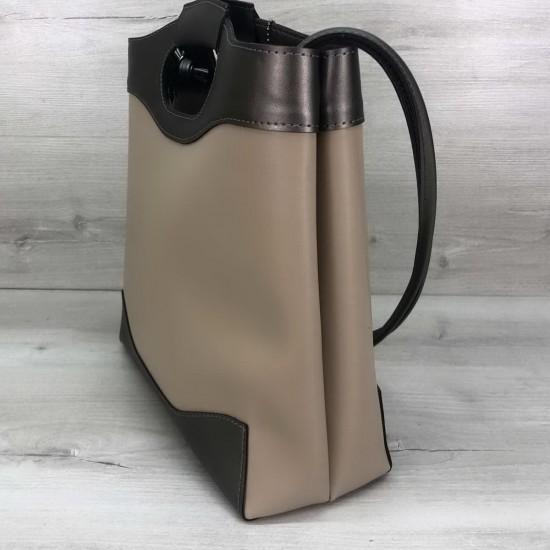 Женская модельная сумка + косметичка OLETO Mishel бежевый