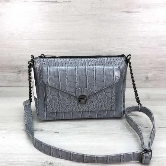 Женская модельная сумочка OLETO Rika серо-голубая