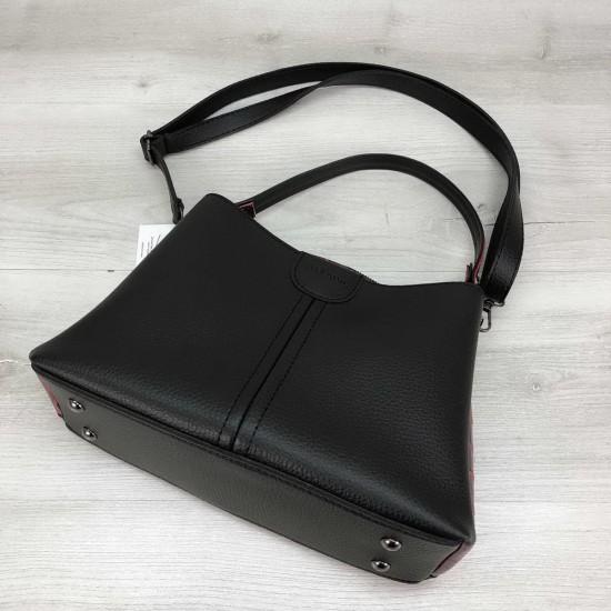 Женская модельная сумка на три отделения WELASSIE Илина черный+красный