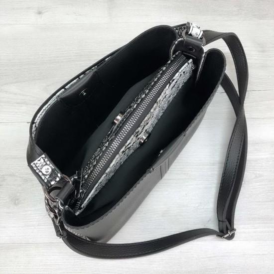 Жіноча модельна сумка на три відділення WELASSIE Илина чорний + білий
