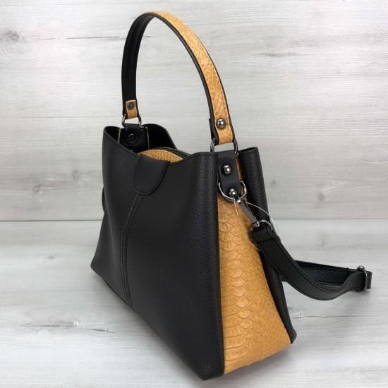Жіноча модельна сумка на три відділення WELASSIE Илина чорний + жовтий
