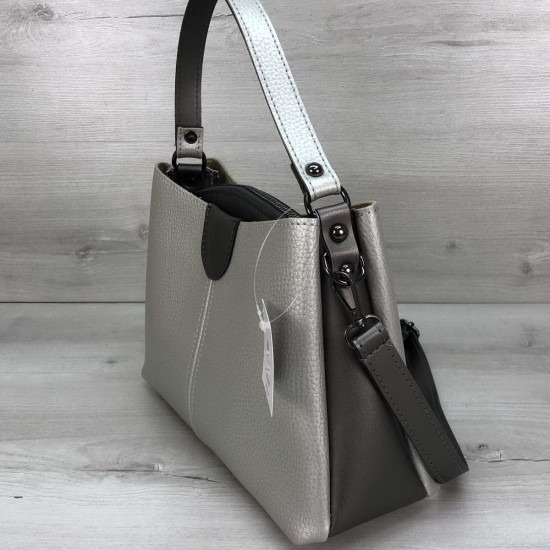 Женская модельная сумка на три отделения WELASSIE Илина серебро