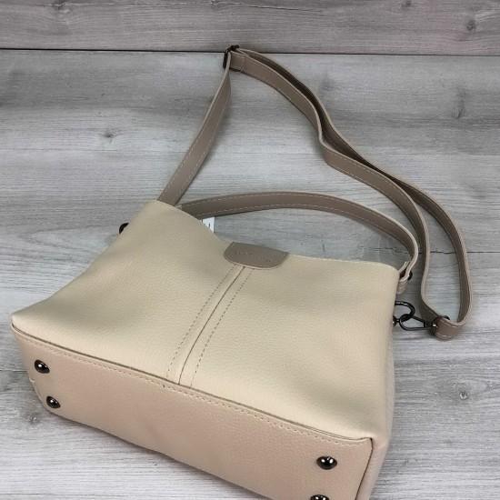 Жіноча модельна сумка на три відділення WELASSIE Илина бежевий