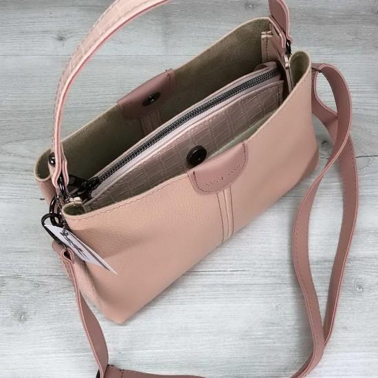 Женская модельная сумка на три отделения WELASSIE Илина пудра