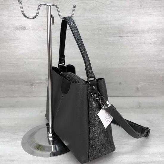 Женская модельная сумка на три отделения WELASSIE Сати серый