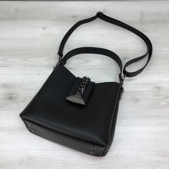 Жіноча модельна сумка на три відділення WELASSIE Сати чорний