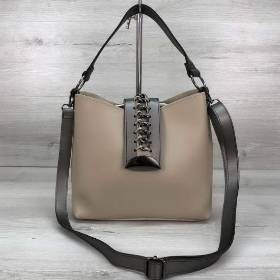 Жіноча модельна сумка на три відділення WELASSIE Сати бежевий