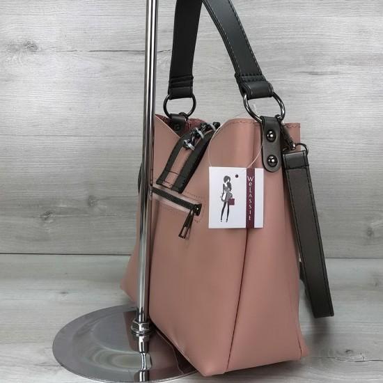 Жіноча модельна сумка на три відділення WELASSIE Сати пудра