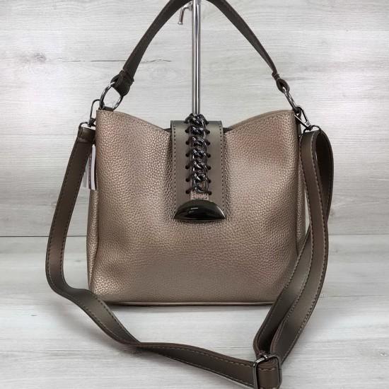 Жіноча модельна сумка на три відділення WELASSIE Сати золотий