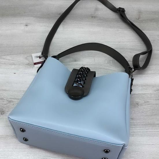 Женская модельная сумка на три отделения WELASSIE Сати голубой
