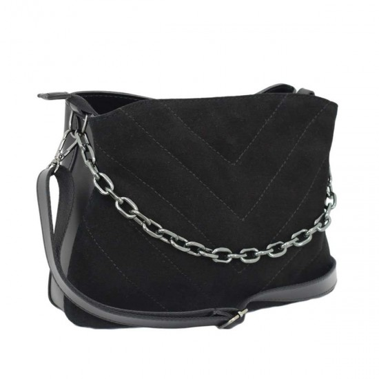Женская  сумочка из натурального замша LUCHERINO 680 черный